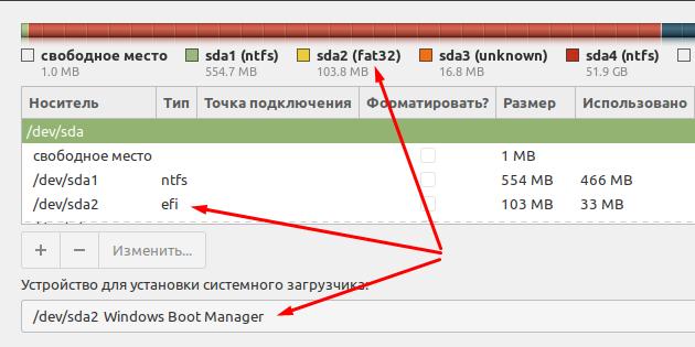 Указываем место установки загрузчика UEFI+GPT